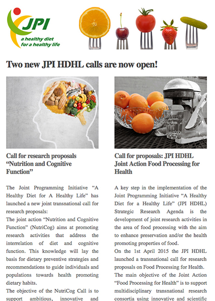 JPI HDHL Call Announcement, April 2015