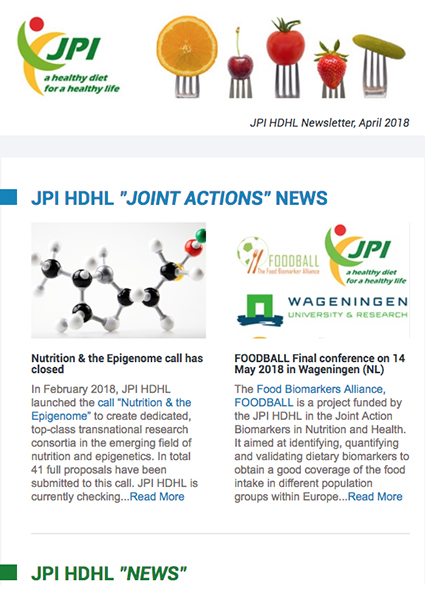 JPI HDHL Newsletter, April 2018