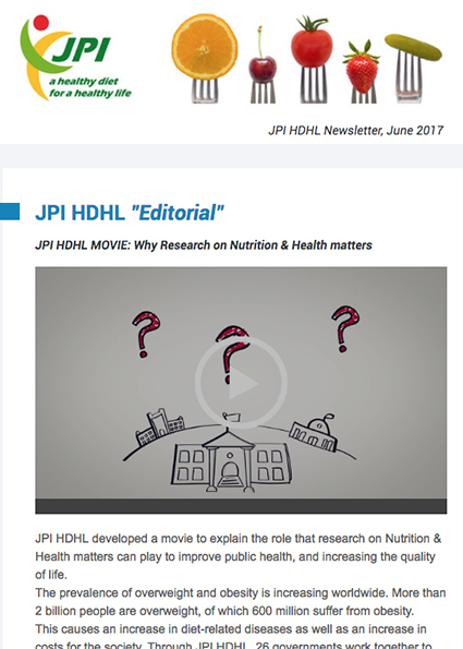 JPI HDHL Newsletter, June 2017