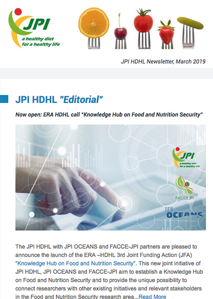 JPI HDHL Newsletter, March 2019