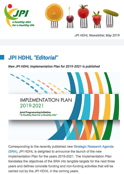 JPI HDHL Newsletter, May 2019