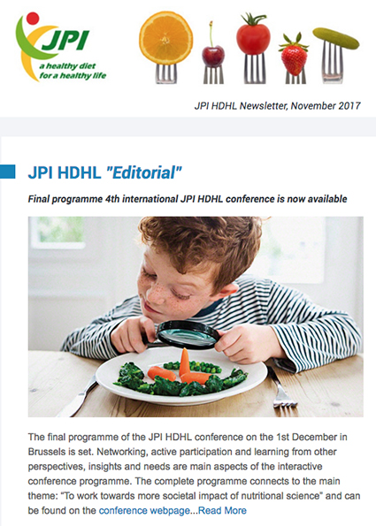 JPI HDHL Newsletter, November 2017